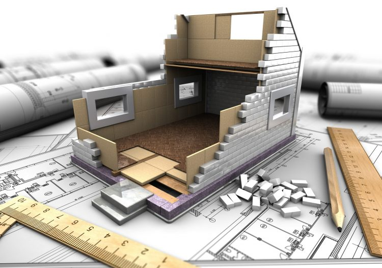 3d illustration of a model home in the background drawings