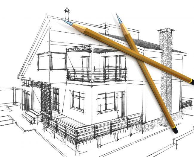 Three-dimensional model of pencils lying on sketch